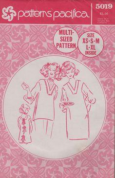 b33bcb66ffa Patterns Pacifica 5019 1970s Mama San Apron Pattern Cover Up Pattern Womens  Vintage Sewing Pattern Size XS - XL Bust 30 - 42 Uncut