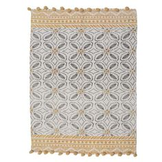 Cotton rug with yellow pattern and tassels. An item that gives finesse and a sense of warmth. Fabric Rug, Yellow Pattern, Printed Cushions, Rugs On Carpet, Carpets, Quilts, Blanket, Cotton, Collection