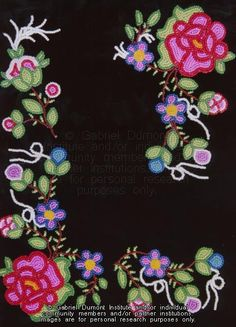 The Virtual Museum of Métis History and Culture Native Beadwork, Native American Beadwork, Native American Art, Native Canadian, Flower Patterns, Beading Patterns, Beading Ideas, Hand Embroidery Designs, Beaded Embroidery