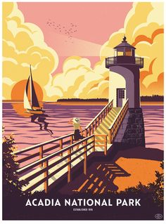 "The 59 Parks series rolls on with a great Acadia National Park poster by Telegramme. It's an 18"" x 24"" screenprint for $40. There is also a larger version (24"""