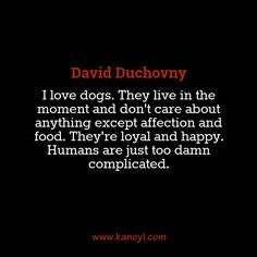 """""""I love dogs. They live in the moment and don't care about anything except affection and food. They're loyal and happy. Humans are just too damn complicated."""", David Duchovny"""
