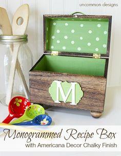 How to make a monogrammed wooden recipe box. #chalkyfinish #americanadecor #decoart @Bonnie &  Trish { Uncommon Designs }