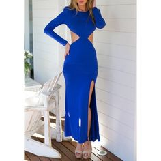 GM-Fashion Blue Plain Irregular Cut Out Backless Side Slit Bodycon Secy Prom Maxi Dress