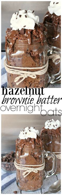 These hazelnut brownie-flavored overnight oats will be a nice treat for you in the morning!