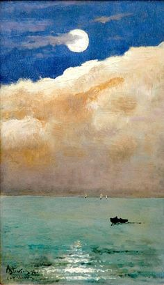 Moonlit seascape at Cap Martin, 1892 Alfred Stevens #art