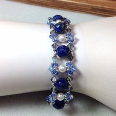 Blue and Green Czech Glass Beaded Bracelet Blue by JewelryCharmers, $35.00 (I like this...pretty)