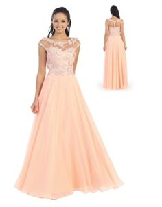Peach Ballroom Dance Dress