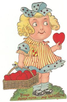 "Grace Drayton vintage Valentine - little girl with a basket of hearts.  ""Please choose mine, my Valentine."""