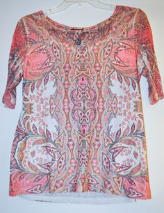 Style&Co. Women Top Floral Stud Henley 3/4 Sleeve Multi-Color Petite size M #Styleco #Blouse #Casual