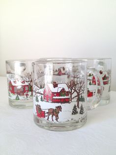 Vintage Sleigh Mug Christmas Holiday Scene by TheLittleThingsVin, $19.00
