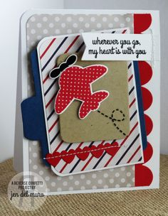 Reverse Confetti stamp set: Here We Go. Confetti Cuts: Here We Go, Double Edge Scallop Border, and Office Edges. Thinking of you card. Masculine card. Encouragement card