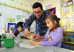 170316-N-YG414-105  YOKOSUKA, Japan (March 16, 2017) Seaman Jonathon Nava, assigned to the U.S. 7th Fleet flagship USS Blue Ridge (LCC 19), pasrticipates in a math exercise during a community relations event at Sullivan's Elementary School. Blue Ridge is in an extensive maintenance period in order to modernize the ship to continue to serve as a robust communications platform in the U.S. 7th Fleet area of operations. (U.S. Navy photo by Mass Communication Specialist Seaman Patrick…