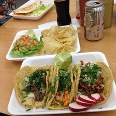 Tienda Mexicana - Madison Heights, MI, United States. tres tacos, lengua(tounge), chicken & al pastor.  new to the menu, 3 dollar guacamole.