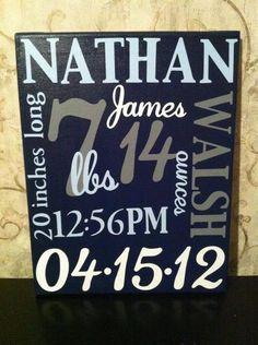 Newborn birth announcement on canvas. $35.00, via Etsy.