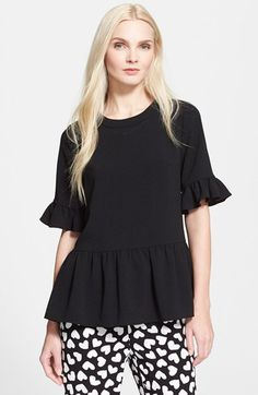 kate spade new york 'linda' ruffle trim top available at #Nordstrom