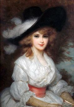 Portrait of a Lady Wearing a White Dress and a Black Hat- Luigi Rossi