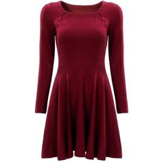 Boat neckline; Pleated detail to neck; Regular fit; Season: Fall; Pattern Type: Plain; Sleeve Length: Long Sleeve; Dresses Length: Short; Color: Red; Style: Ca…
