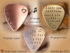 Personalized Guitar Pick/ Engraved Guitar Pick/ Hand Stamped Guitar Pick