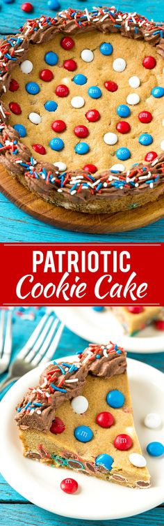 This recipe for a patriotic cookie cake is a giant brown sugar cookie that's loaded with red white and blue M&M's and finished off with chocolate frosting and sprinkles. The perfect treat for summer entertaining! AD