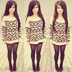 ♡highwaist shorts, long sweater and tights !