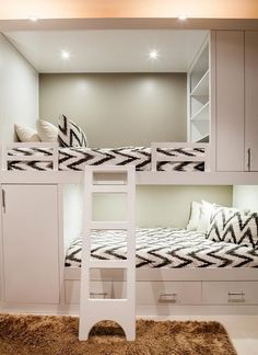 Home Decoration: Guest Room – Contemporary bunk room features white built in bunk beds, with top bunk bed fitted with modular shelves, dressed in white and gray chevron bedding. Room Design, Home, Cool Rooms, Bedroom Design, Bed, Loft Spaces, Bunk Bed Rooms, Bunk Beds Built In, Kids Bedroom