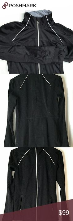 Lululemon Athletica Jacket In good condition. There are small knicks in the material shown in the last picture. Not very noticeable though. Size 8. Sleeves have thumbholes. Ventilation opening in back Smoke and pet free home. Ships within one day. lululemon athletica Jackets & Coats