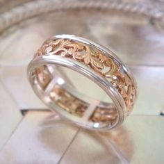 Mahawan Rose Gold and Sterling Silver Spinner Ring, Original Design, Ready to Ship