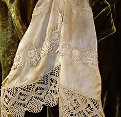 Antique Laces Long Scarf- ivory silk with layers of lace