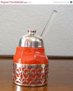 Vintage MCM Orange Glass Mustard/Sugar Jar with by MODMAKESIT, $29.40 - $old