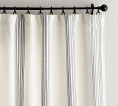 Riviera Stripe Drape with Blackout Liner, 50 x Charcoal At Pottery Barn - Rugs & Windows - Drapes & Curtains - Linen Striped Curtains, Printed Curtains, Room Darkening Curtains, Linen Curtains, Bedroom Curtains, Striped Linen, Pottery Barn Curtains, Silk Drapes, Stripes