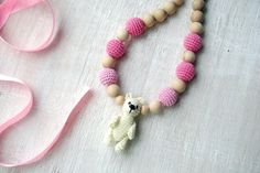 Nursing necklace Teddy bear toy Teething by MiracleFromThreads, $33.00
