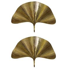 Pair of Huge Ginkgo Leaf Brass Wall Lights or Sconces by Tommaso Barbi | From a unique collection of antique and modern wall lights and sconces at https://www.1stdibs.com/furniture/lighting/sconces-wall-lights/