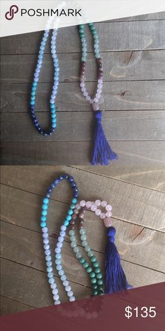 108 Traditional Mala Made to order 108 Mala with a variety of genuine gemstones, guru bead and tassel. Handmade Jewelry Necklaces