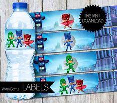 PJ Masks BirthdayParty PRINTABLE Water Bottle by APartyPrintable
