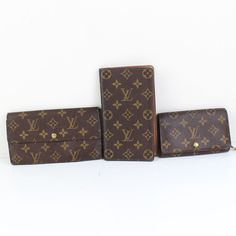 Authentic LOUIS VUITTON Monogram  3 Wallet Set 2 long 1 bifold France 20157.8