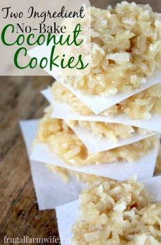 Coconut Cookies no-bake coconut cookies. These are so easy and HEALTHY! But most importantly (for me) they're super allergy-friendly!no-bake coconut cookies. These are so easy and HEALTHY! But most importantly (for me) they're super allergy-friendly! Gluten Free Desserts, Just Desserts, Delicious Desserts, Yummy Food, Health Desserts, Delicious Cookies, Tasty, Healthy Sweets, Healthy Baking