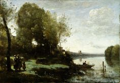 Camille Corot - River with a Distant Tower [1865] | Flickr - Photo Sharing!