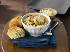 French Onion Soup - Cook With Campbells Canada Campbells Soup Recipes, Onion Soup Recipes, Great Recipes, Favorite Recipes, Classic French Onion Soup, Homemade Soup, Soup And Sandwich, Food To Make, Butter