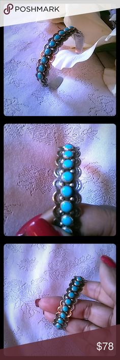 Vintage Rare Bell Trading Post Turquoise Cuff Nine turquoise stones. Hand stamped. Not eligible for bundle. Jewelry Bracelets