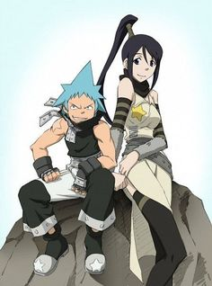 Black Star and Tsubaki from Soul Eater Anime Soul, Anime Art, Shinigami, Black Star Soul Eater, Soul Eater Couples, Soul Eater Evans, A Silent Voice, Grim Reaper, Awesome Anime