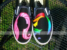 My Little #Pony Silhouette Painted Shoes Rainbow Dash Pinkie Pie ,Slip-on Painted Canvas Shoes
