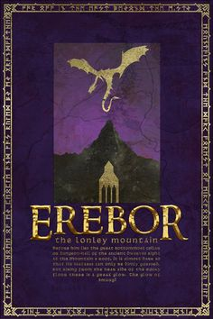 Lonely Mountain Travel Poster from The Lord Of the Rings and the Hobbit - Tolkien