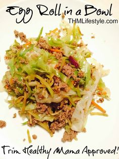 """Trim Healthy Mama - Egg Roll in a Bowl Recipe! few adjustments. Use extra lean turkey. if desired throw a few prepackaged wonton crisps on the top for a """"deconstructed egg roll"""" dish. Bariatric Recipes, Pork Recipes, Asian Recipes, Low Carb Recipes, Cooking Recipes, Trim Healthy Recipes, Recipies, Sausage Recipes, Clean Eating"""