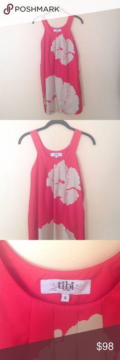 100% silk Tibi summer dress Size 2 Tibi red/tan dress. Worn once! Price negotiable, make an offer! Tibi Dresses Midi