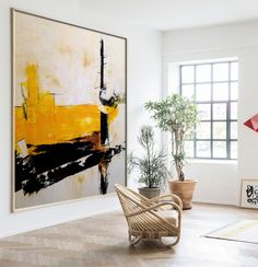 Large abstract Yellow Orange green art painting on canvas, Square abstract painting, Large Abstract art, Beige Yellow Black Contemporary Abstract Art, Abstract Landscape, Watercolor Landscape, Art Vert, Modern Art Movements, Modern Art Paintings, Abstract Paintings, Bedroom Paintings, Abstract Oil