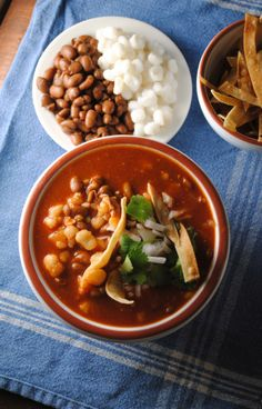 Pozole de Frijol...pinto beans, hominy, ancho chilis, tomatoes, lime...yum