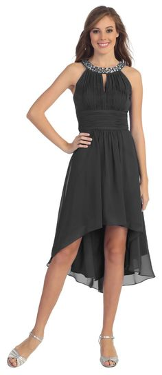 Chiffon Bridesmaid Black Dress Knee Length Empire Waist Semi