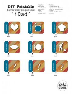 Is your dad, hubby, loved-one always on an iPad? Now you can give them their own iDad Coupon Card all loaded up with great coupon apps for Father's Day! Glue Dots, Food Gifts, Print And Cut, Fathers Day, Coupons, Card Stock, Printer, Printables, Cards