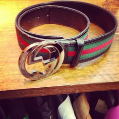GUCCI GG BELT Canvas-Leather
