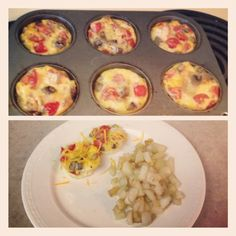 I made a Pinterest inspired breakfast this morning! Omelets in a muffin tin with tomatoes, mushrooms, bacon, onions, and cheese. Quick and easy!